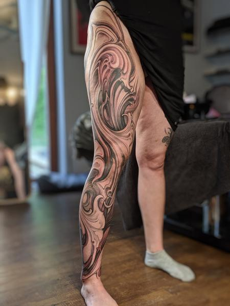 Tattoos - Leg Bio Abstract - 140266