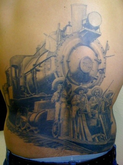 Tattoos - Black and Gray Steam Engine Tattoo - 52349