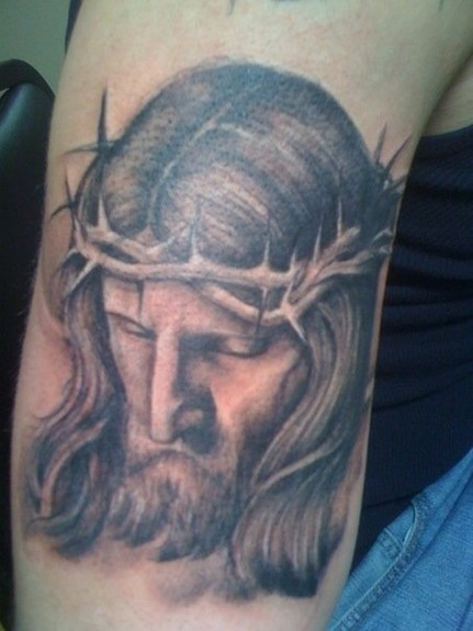 Tattoos - Black and Gray Jesus Tattoo - 52351