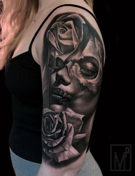 Tattoos - ladyface roses - 133201