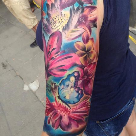 Tattoos - Girly Full Colour Flower Half Sleeve - 108942