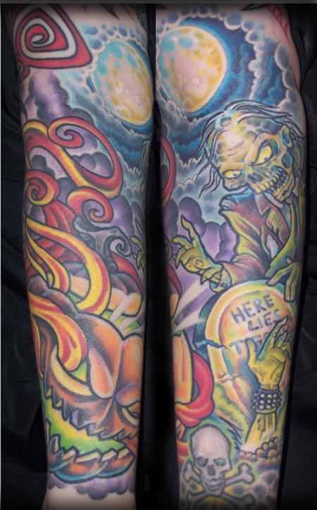 Tattoos - Jack O Lantern Zombie Half Sleeve - 75155