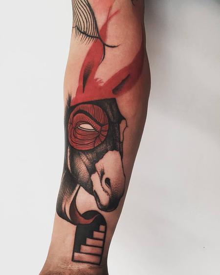 Tattoos - red donkey - 127087