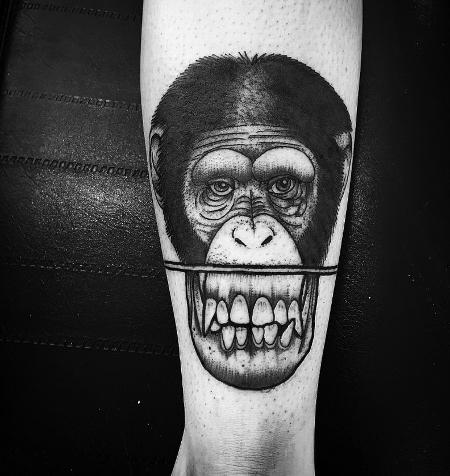 Tattoos - monkey face - 127130
