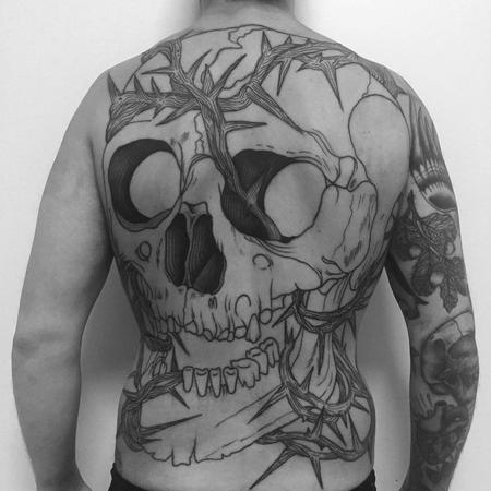 Tattoos - skull backpiece in progress - 130728