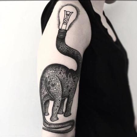 Tattoos - lightbulb dino - 128017