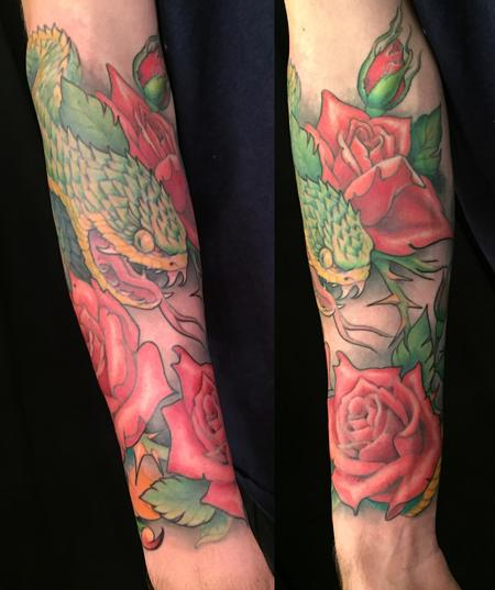 Tattoos - Color Snake and Roses Tattoo - 141500