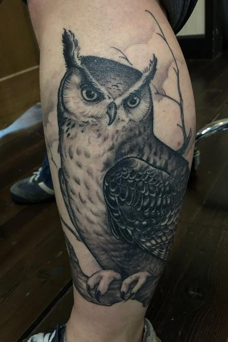 Tattoos - Black and Grey Owl cover up - 122763