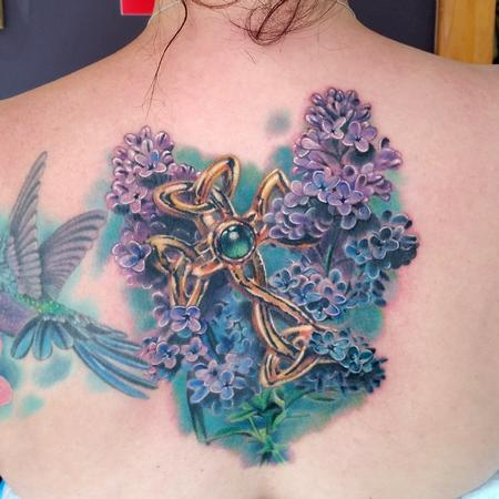 Tattoos - CROSS AND LILACS - 96516