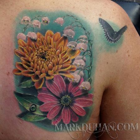 Tattoos - FLOWERS AND BUTTERFLY - 92122