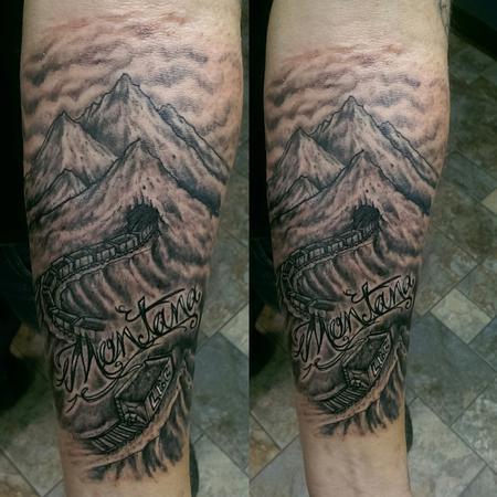 Tattoos - Montana train mountain pass - 119031