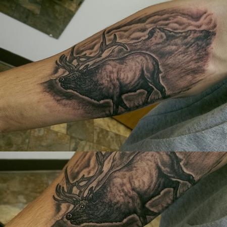 Tattoos - Black and Gray Elk Tattoo - 118991