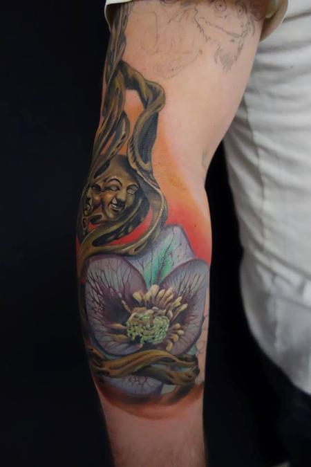 Tattoos - custom color work in progress flower roots  - 89788