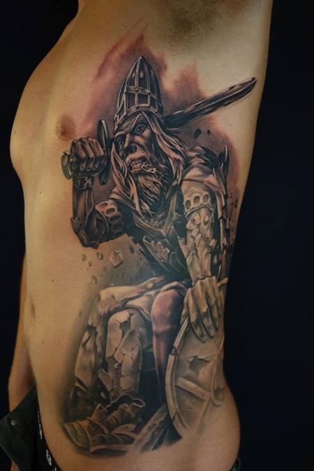 Tattoos - Black/grey portrait of myth Holger Danish,  - 91614