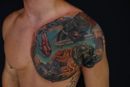 Tattoos - wiking warrior fights A Roman - 91757