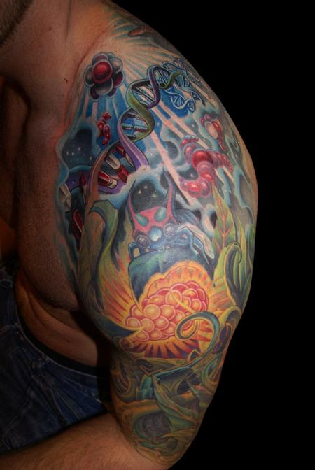 Tattoos - DNA Life Energy Half Sleeve - 61766