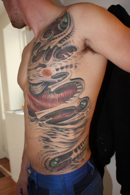 Tattoos - Evil bio-organic ribs, flesh  - 64235