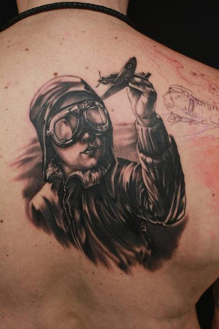 Tattoos - black/grey chestpiece in progress - 89787