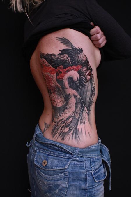 Dennis Wehler - Black swan/White swan finished piece not healed