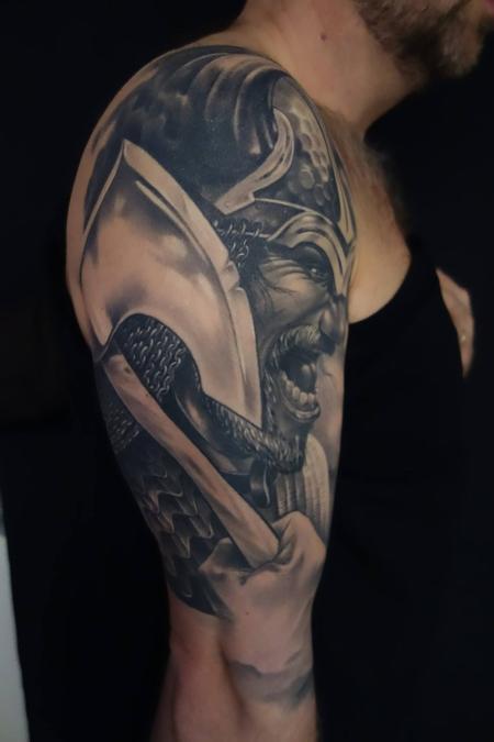 Tattoos - Black/grey wiking warrior - 89005