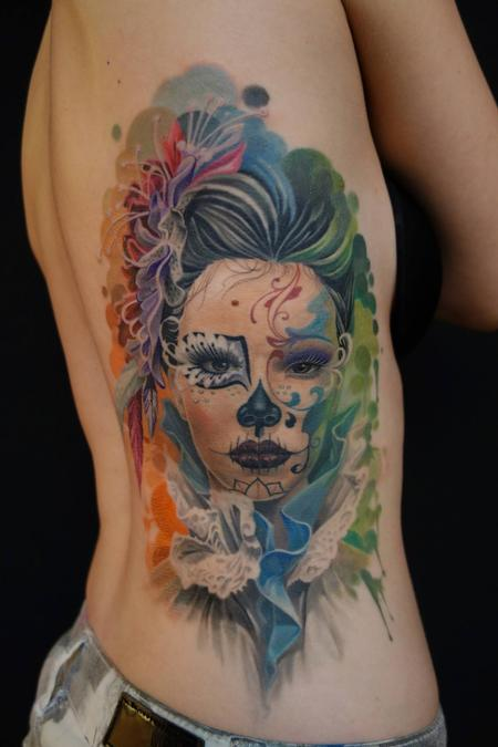 Tattoos - custom made feminin color tattoo - 96168