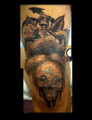 Aristotelis Telly Konstantinidis - Graffiti Flower Sugar Skull Tattoo
