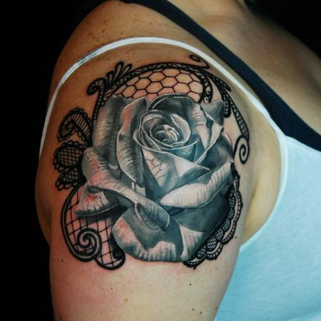 Tattoos - Rose and lace  - 115500