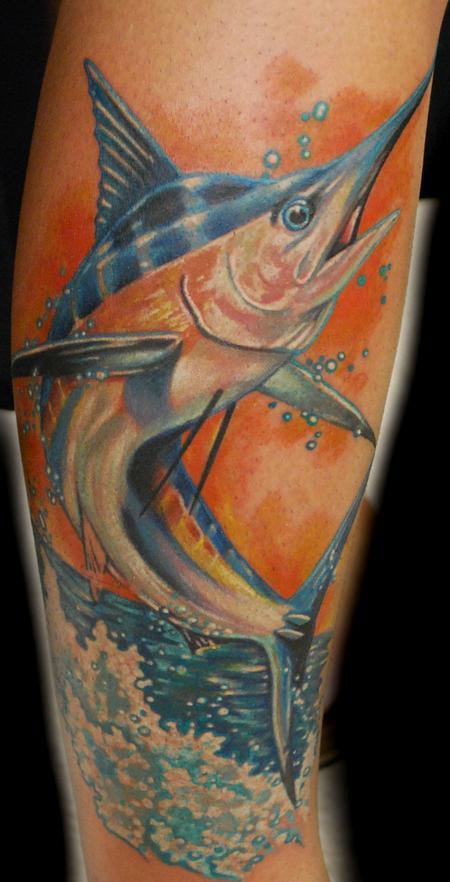 Tattoos - Realistic Sword Fish Tattoo - 64925