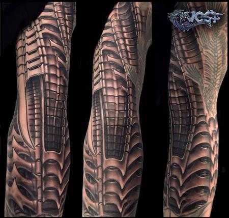Tattoos - Black and Grey Giger inspired tattoo sleeve  - 140657