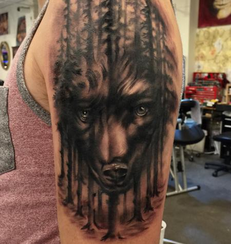 Tattoos - Damon Conklin Wolf Woods - 131245