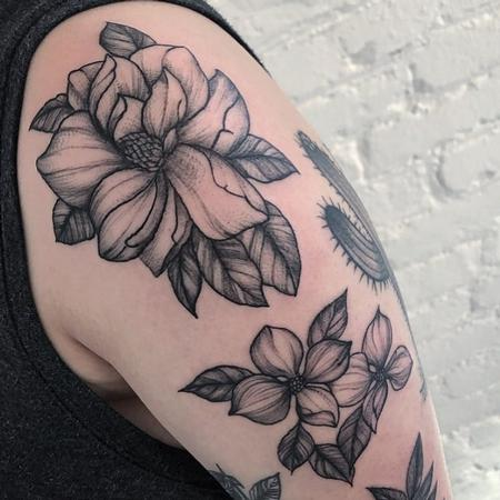 Tattoos - Blooming magnolia and dogwood flowers Tattoo - 140970
