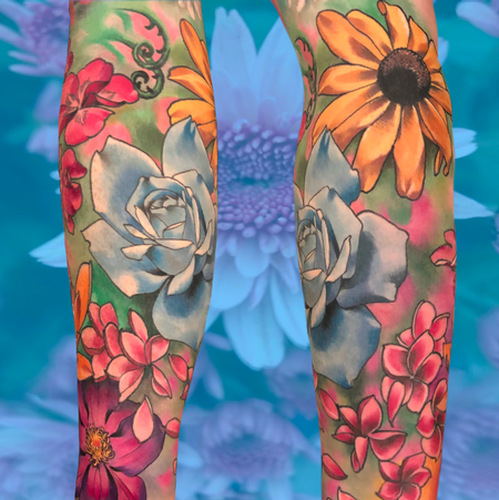 Tattoos - Full color flowers tattoo - 140667