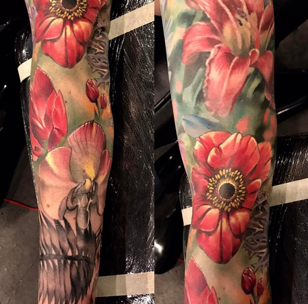 Damon Conklin - Flowers and Skull