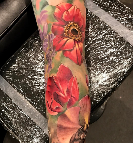 Tattoos - Color Flowers Tattoo - 140911