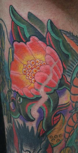 Knuckle - Color Flower Tattoo
