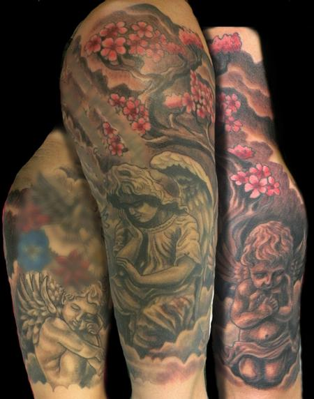 Tattoos - cherub and angel half sleeve with cherry blossoms - 63218