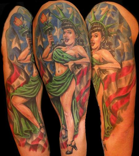 Tattoos - betty page pinup half sleeve - 64536