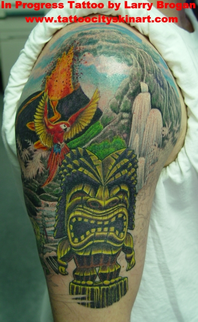 Tattoos - Tiki jungle half sleeve - 12208
