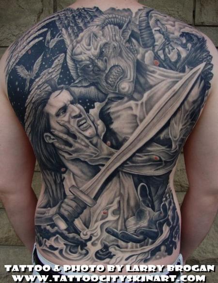 Tattoos - Angle vs Demon Backpiece - 58687