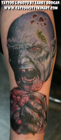 Larry Brogan - Blue Zombie Eating Brains