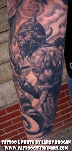 Tattoos - Details of Frank Frazetta Sleeve - 58679