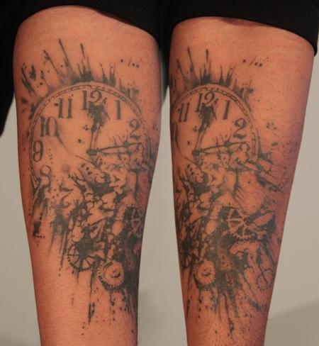 Tattoos - Exploding Clock Tattoo - 62534
