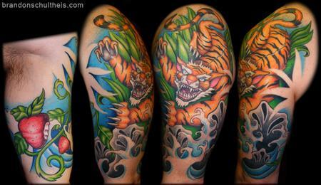 Tattoos - Tiger Half-Sleeve Tattoo - 59835