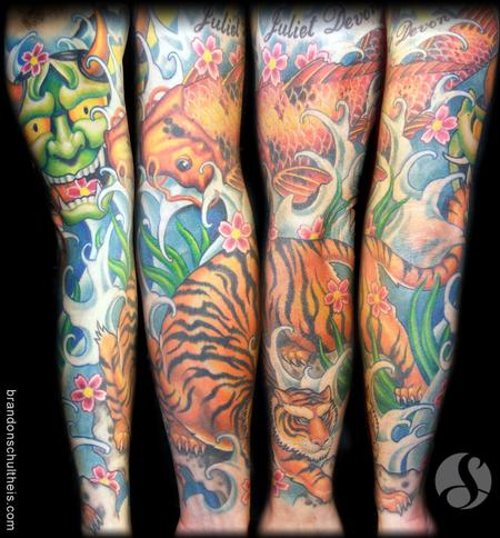 Tattoos - Color Japanese Sleeve: Koi, Tiger, Hannya Mask - 69478