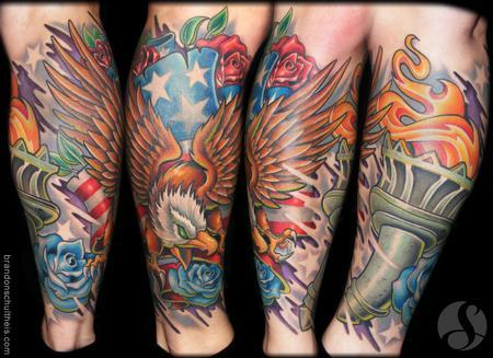 Tattoos - Patriotic Lower Leg Sleeve - 64890
