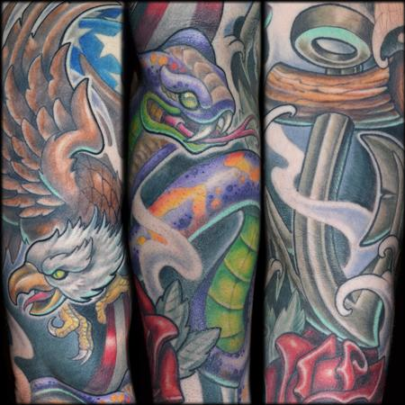 Brandon Schultheis - Eagle, Snake, Anchor Sleeve Details