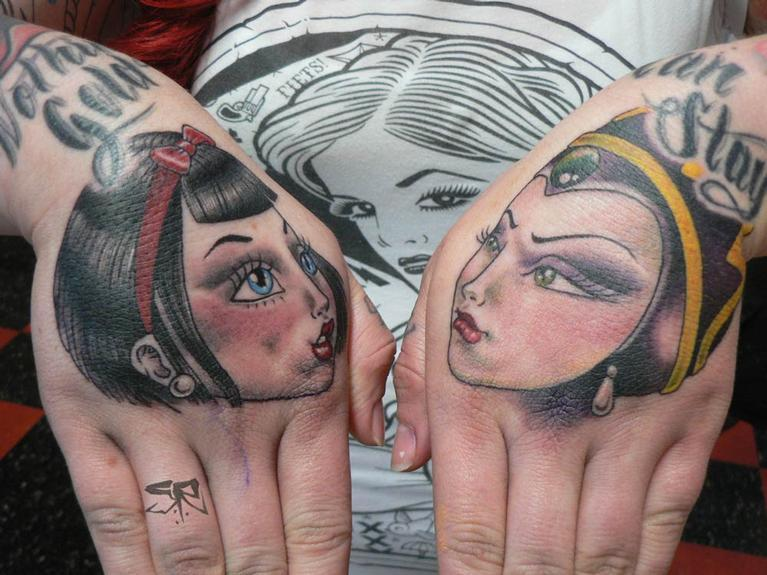 Tattoos - Snow White and Evil Queen Hand Tattoos - 53270