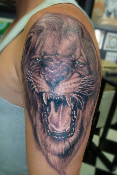 Tattoos - Black and Gray Lion Tattoo - 52481