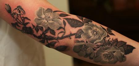 Tattoos - Black and Grey flowers tattoo - 59984