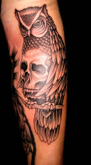Merry Wilson - Owl and Skull Tattoo